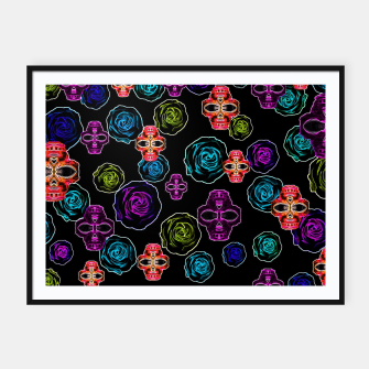 Thumbnail image of skull art portrait and roses in pink purple blue yellow with black background Framed poster, Live Heroes