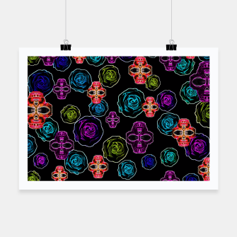 Thumbnail image of skull art portrait and roses in pink purple blue yellow with black background Poster, Live Heroes
