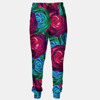 Thumbnail image of closeup blooming roses in red blue and green Sweatpants, Live Heroes