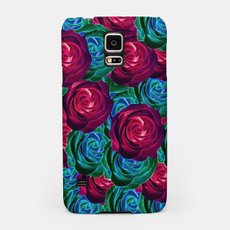 Thumbnail image of closeup blooming roses in red blue and green Samsung Case, Live Heroes