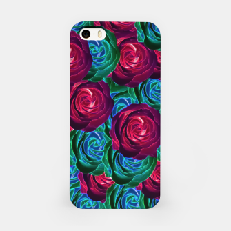 Thumbnail image of closeup blooming roses in red blue and green iPhone Case, Live Heroes