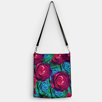 Thumbnail image of closeup blooming roses in red blue and green Handbag, Live Heroes