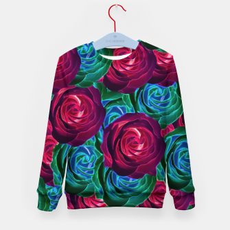 Thumbnail image of closeup blooming roses in red blue and green Kid's Sweater, Live Heroes