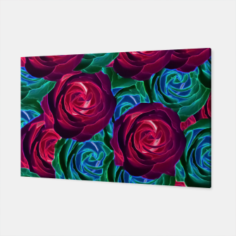 Thumbnail image of closeup blooming roses in red blue and green Canvas, Live Heroes