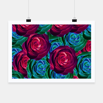 Thumbnail image of closeup blooming roses in red blue and green Poster, Live Heroes