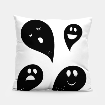 Thumbnail image of Artistic Pillow with black happy Ghosts on white, Live Heroes