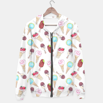 Thumbnail image of Watercolor inked print with ice cream Hoodie, Live Heroes