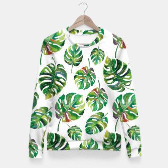 Thumbnail image of Tropical leaves Fitted Waist Sweater, Live Heroes