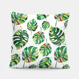 Thumbnail image of Tropical leaves Pillow, Live Heroes