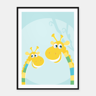 Thumbnail image of Amazing framed Poster with 2 LOVE GIRAFFES, Live Heroes