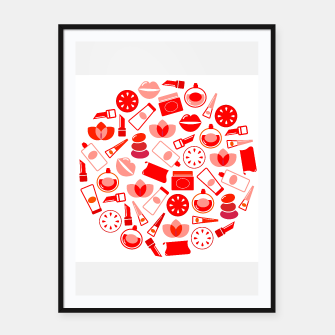 Thumbnail image of Framed poster with Red Icons on white, Live Heroes