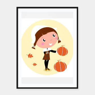 Thumbnail image of Framed poster with Vintage Thanksgiving Girl, Live Heroes