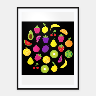 Thumbnail image of FRAMED POSTER with Exotic fruit on Black, Live Heroes