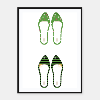 Thumbnail image of Framed Poster with RETRO VINTAGE SHOES Green, Live Heroes