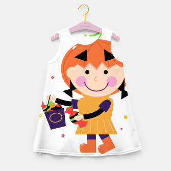 Thumbnail image of Girls Summer Dress with PUMPKIN HEAD Girl, Live Heroes