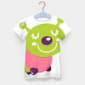 Thumbnail image of Kids designers T-Shirt with handdrawn Smiling Worm, Live Heroes