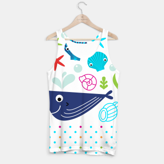 Thumbnail image of Tank Top with Aquatic Creatures Blue on white, Live Heroes
