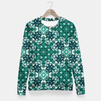 Miniature de image de Bohemian Aqua Green Fancy Pattern Fitted Waist Sweater, Live Heroes