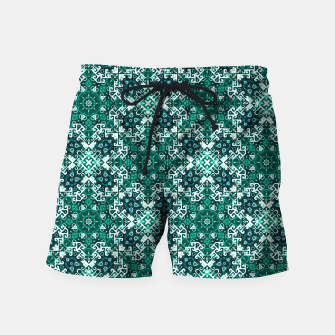 Thumbnail image of Bohemian Aqua Green Fancy Pattern Swim Shorts, Live Heroes