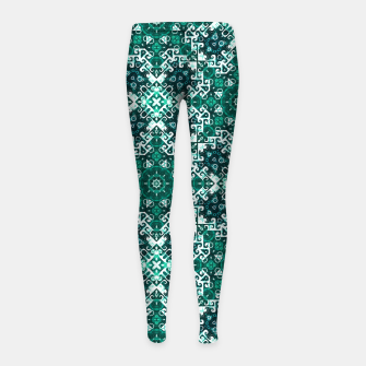 Thumbnail image of Bohemian Aqua Green Fancy Pattern Girl's Leggings, Live Heroes