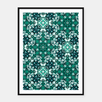 Thumbnail image of Bohemian Aqua Green Fancy Pattern Framed poster, Live Heroes