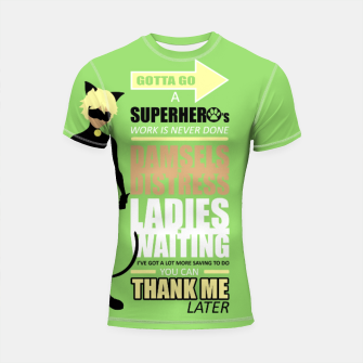 Thumbnail image of Cat Noir Quotes Shortsleeve Rashguard, Live Heroes