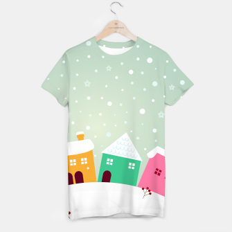 Miniaturka Creative T-Shirt with Snowing cute Town, Live Heroes
