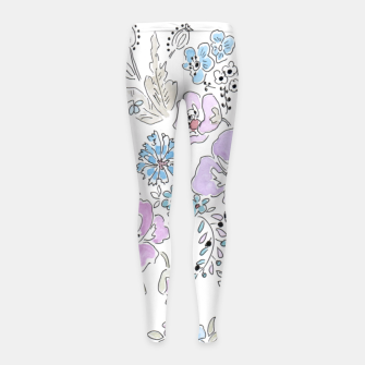Thumbnail image of Watercolor flowers print Girl's Leggings, Live Heroes