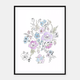 Thumbnail image of Watercolor flowers print Framed poster, Live Heroes