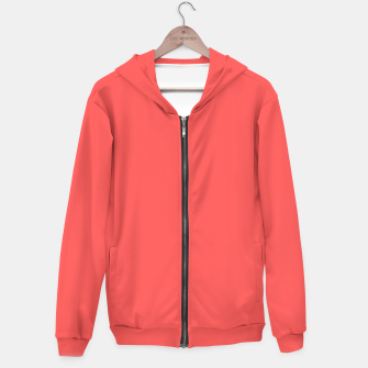 Thumbnail image of Bright coral color print Hoodie, Live Heroes