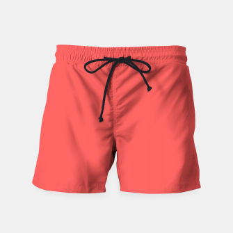 Thumbnail image of Bright coral color print Swim Shorts, Live Heroes