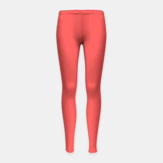 Thumbnail image of Bright coral color print Girl's Leggings, Live Heroes
