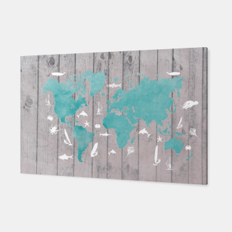Thumbnail image of world map blue grey Canvas, Live Heroes