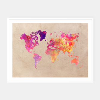 Thumbnail image of world map colors Plakaty w ramie , Live Heroes
