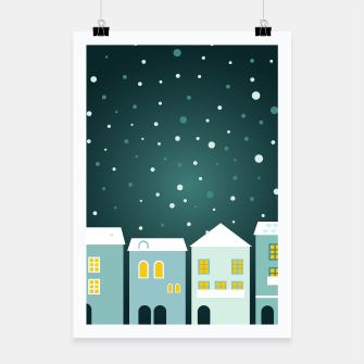 Thumbnail image of POSTER with Hand-drawn Art village with Snow, Live Heroes
