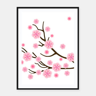 Miniaturka Painted FRAMED POSTER with Pink Art flowers, Live Heroes