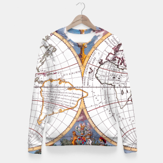 Thumbnail image of A New Map Of The Terraqueous Globe Fitted Waist Sweater, Live Heroes