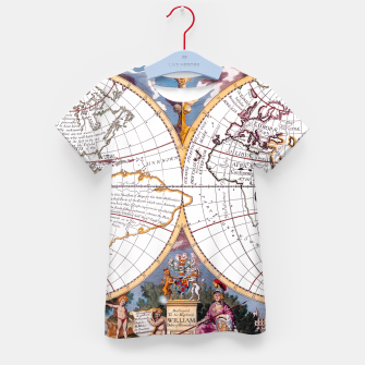 Thumbnail image of A New Map Of The Terraqueous Globe Kid's T-shirt, Live Heroes