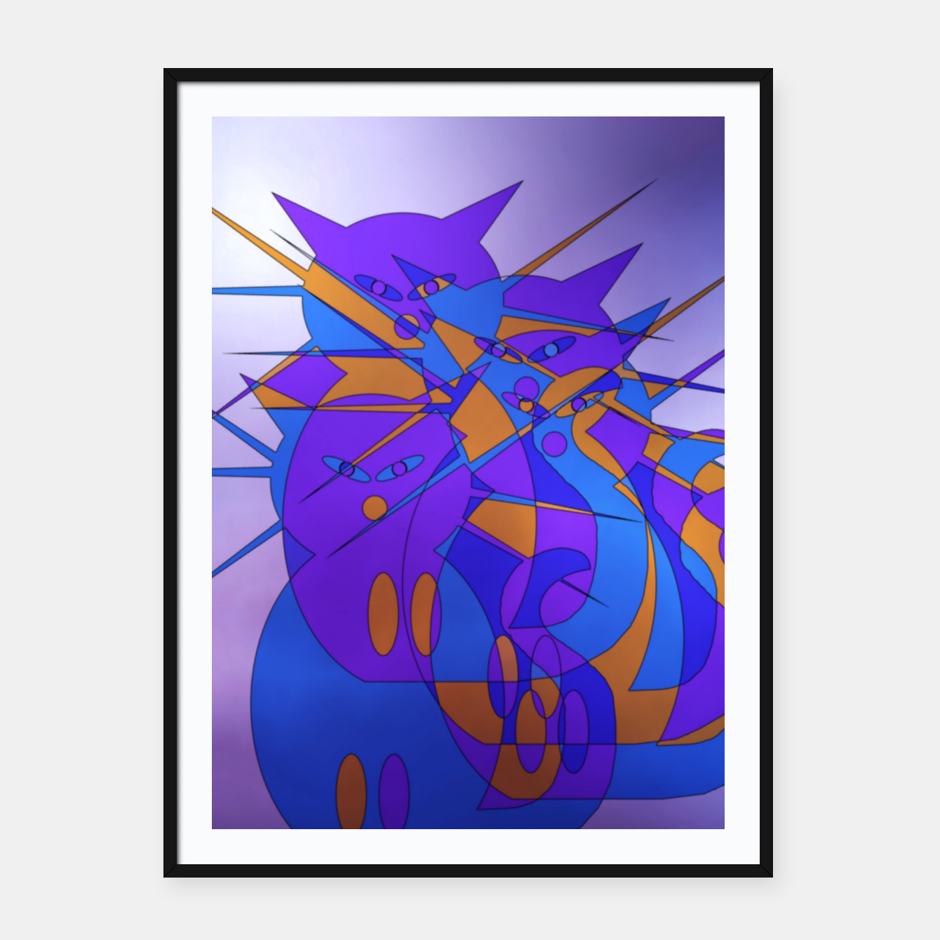 Image of cats trio Framed poster - Live Heroes