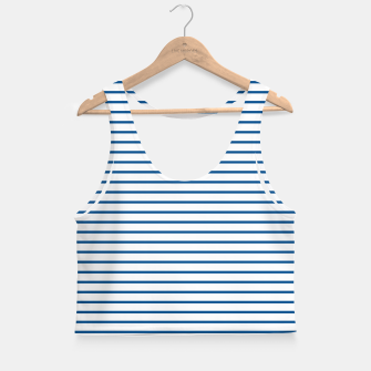 Thumbnail image of Blue Summer lines Crop Top, Live Heroes