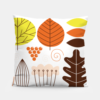 Thumbnail image of Artistic Pillow with natural Leaves : Orange, white Summer, Live Heroes