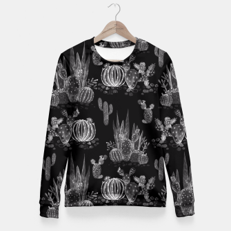 Thumbnail image of Watercolor cactuses print Fitted Waist Sweater, Live Heroes