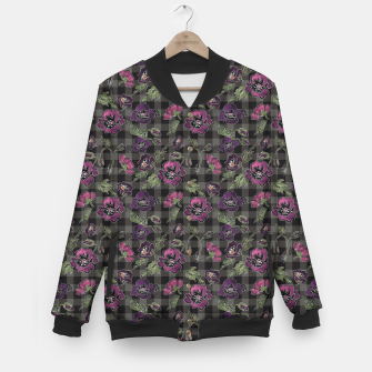 Miniature de image de Watercolor flowers on checkered plaid background Baseball Jacket, Live Heroes