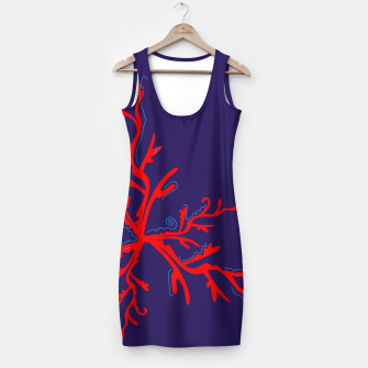 Thumbnail image of Red handdrawn Coral on blue Dress. Artistic editon 2017, Live Heroes