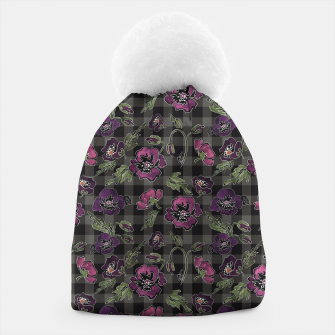 Thumbnail image of Watercolor flowers on checkered plaid background Beanie, Live Heroes