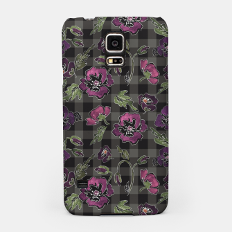 Thumbnail image of Watercolor flowers on checkered plaid background Samsung Case, Live Heroes