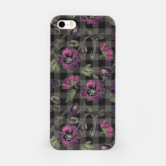 Thumbnail image of Watercolor flowers on checkered plaid background iPhone Case, Live Heroes