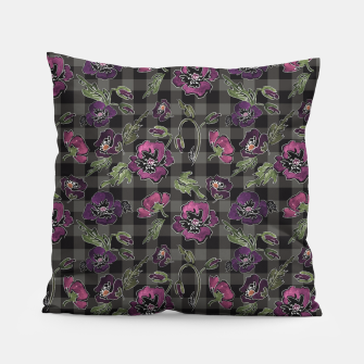 Miniaturka Watercolor flowers on checkered plaid background Pillow, Live Heroes