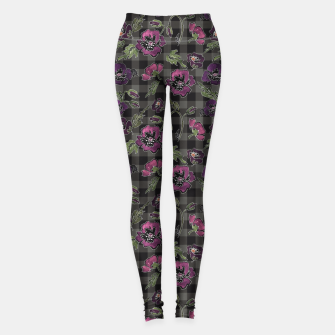Thumbnail image of Watercolor flowers on checkered plaid background Leggings, Live Heroes