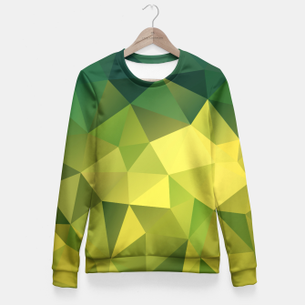 Thumbnail image of Abstract background of triangles polygon wallpaper in green yellow lime colors Fitted Waist Sweater, Live Heroes